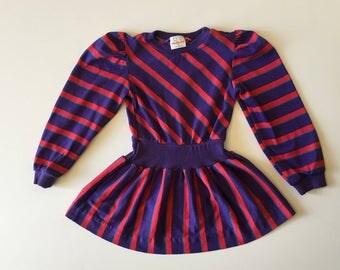 1980's Health-tex Purple Stripe Drop Waist Dress (5t)