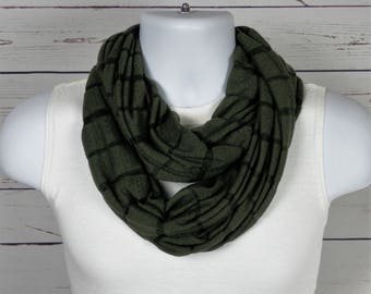 Army Green Jersey Knit Infinity Scarf Double Loop Scarf Dark Sage Green Scarf for Men or Women Handmade by Thimbledoodle