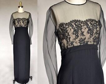 Vintage 50s Long Black Crepe Dress Sheer Illusion Top Lace Bust Bow Detail