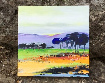 Australian landscape, original painting, high country, contemporary style, Acrylic painting on board