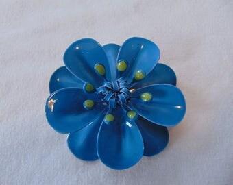 vintage blue green metal enamel flower pin