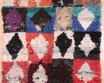 "230X160 cm 7'6"" x 5'2""   L30173 boucherouite , boucharouette,  moroccan rugs , berber rugs, morocco carpets"
