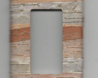 birch bark covered light switch plate GFCI -Ground Fault Circuit Interrupter /  rocker / dimmer switch