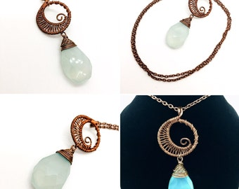 Wire Wrapped Copper Swirly Moon Necklace with Genuine Aqua Chalcedony Faceted Tear Drop