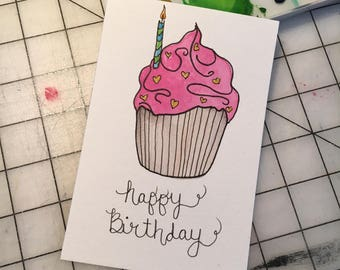 Happy Birthday Cupcake / Postcard / 4 x 6 / Hand lettering