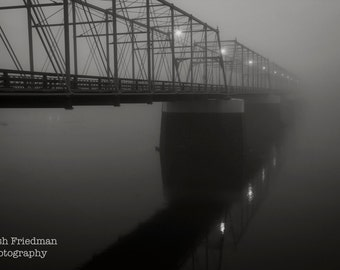 Historic Truss Bridge in Morning Fog Black and White Photograph Mist Calhoun Street Bridge Trenton NewJersey Delaware River Reflection Art