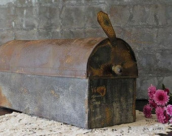 Rare Antique Mailbox, Long Rectangle Galvanized Metal Mail Box