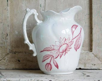 Vintage Pink Transferware Pitcher, Pink Flowers