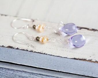 Purple Teardrop Earrings, Lavender, Teardrop Earrings, Chain Earrings, Minimalist Jewelry, Purple Earrings, Purple Silver Earrings,