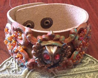 Rustic Copper Leather Cuff Owl Vintage Filigree