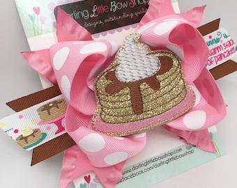 Pancake Hairbow -- Pancakes & Pajamas -- Pancake theme hair bow in pink, molasses tan and gold