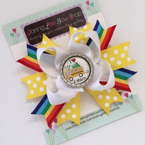 Back to School Bow --- I Love School  --- yellow polka dot and rainbow ribbon -- cute bow to start kindergarten or preschool