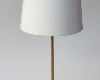 Unfinished Brass Lamp with White High Gloss Lamp Shade