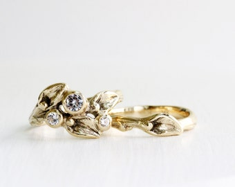 14K Gold,White Sapphire Engagement Rings, Leaf Ring,Twig Rings,Yellow Gold,White Gold,Rose Pink Gold