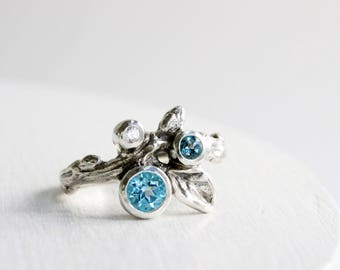Gem Cluster,London Blue Topaz,Blue Topaz and White Sapphire Silver Leaf Twig Ring,Leaf Fine Jewelry