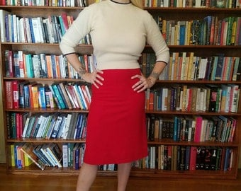 RED HOT-- Sexy Lipstick Red 1950s Wiggle Skirt Pencil Skirt--S,M