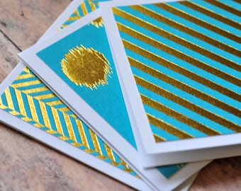 Mini Cards - Turquoise and Gold // Set of 4 // Blank Cards // Enclosure Cards // Love Notes // Advice Cards // Gift Tag // Gold Foil