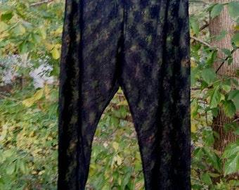 Black Lace Vintage Pajama Pants Lingerie Size Large