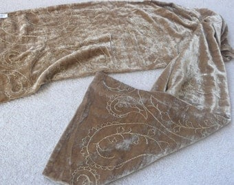 Gold viscose silk velvet embroidered scarf