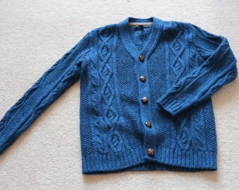 Blue wool acrylic mix cardigan with leather look buttons 6 - 7 yr old boy