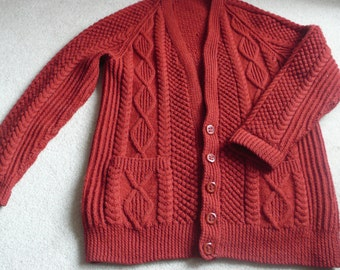 SALE Beautifully handknit men's red wool Aran cable cardigan XL