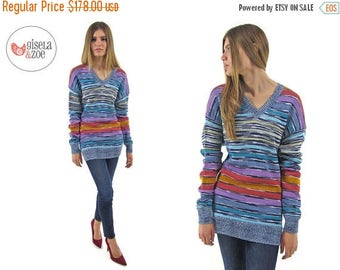 On Sale - Vintage 90s Missoni Space Dyed Knit Top Slouchy Tunic Over-sized Top / xs sm md