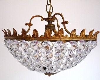 1930 Adjusted Bulbs US beautiful French Vintage  Crystal pendants Ceiling Light - French Vintage Ceiling Lamp - Crystal Basket Chandelier