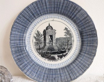 circa 1855 - French Antique Plate - French  - Talking Plate - Shabby Chic - French Ironstone -  French bourgeoise decoration