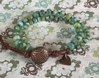 Aqua Hand-Knotted Bracelet Chic Bohemian Jewelry Blue Green Mulit-Strand Bracelet Free Shipping