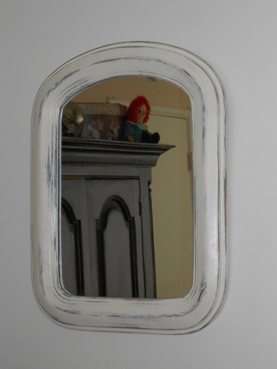 Farmhouse rustic arched wood framed mirror shabby chic wall for Teal framed mirror