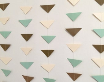 Geometric garland - Tribal banner - Triangle Garland - Boho Chic Baby Shower decor - Aztec garland - Aztec Wedding decor- your color choices