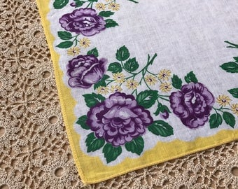 Vintage Purple and Yellow Floral Handkerchief 1489