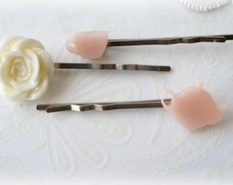 Peach Teapot and Teacup Hairpin Set