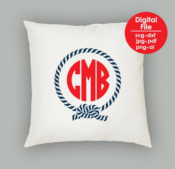 Nautical Rope Monogram Frame, SVG PNG PDF Jpg Jpeg Ai Dxf