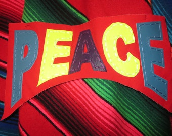 Hand Sewn Leather Multi Colored Large PEACE Sew on Back Patch Hippie Dead Head Neon Accessory Patch