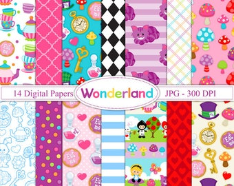 Wonderland - Alice Digital paper - Alice in Wonderland patterns