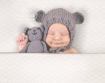 Newborn Teddy bear hat & Teddy bear SET, Newborn hat, Newborn bonnet, newborn photography prop, newborn prop bonnet