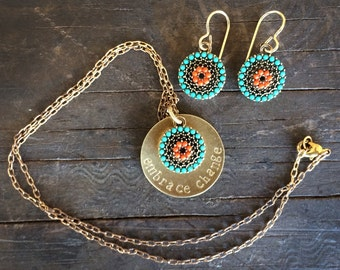 necklace earring set, layered necklace, turquoise, necklace handmade, christmas gift, boho, tribal, 2017 trends, womens, jewelry