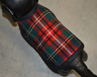 Red Tartan Wool Dog Coat handmade of Pendleton Wool fabric xs to small fully adjustable unique dog coat - plaid dog coat - warm dog coat
