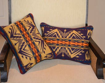 New PAIR Echo Peaks PILLOW COVERS cases shams handmade of Native American Wool design fabric purple mustard home decor pillows