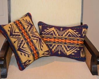New PAIR Echo Peaks PILLOW COVERS cases shams handmade of Native American Wool design fabric purple mustard home decor pillows zipper