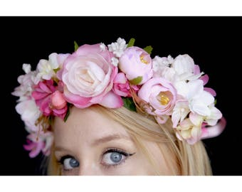 The Candy Pink Flower Crown / headband / hairband