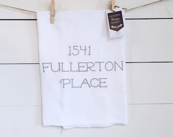 Kitchen Towel - Custom Towel - Flour sack Towel - Dish Towel - Tea Towel- Address Gift- Wedding Gift- First Home- Custom Kitchen Towel-Bride