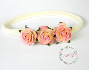 Pink Flower Headband - Pink Baby Headband - Baby Flower Headband -  Nylon Headband - Baby Pink Flower Headband