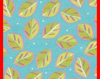 Vintage Cotton Fabric  Leaves on Turquoise Textiles, Fat Quarter, Quilting, Quilts, Sewing