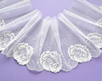 Ivory Sparkly Lace, Ivory Wedding Dress Trim, Bridal Sash, Lingerie, Glittering Lace, Wedding Veil, Dolls, Lace Decor,