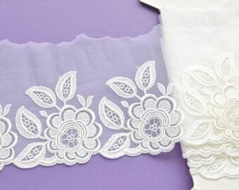 5 Inch Ivory Stretch Lace, Ivory Wedding Dress Trim, Bridal Sash, Lingerie, Bridal Lace, Wedding Veil, Dolls, Lace Decor,