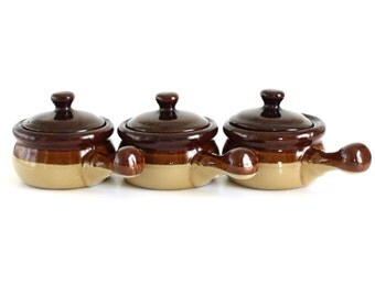 Brown Stoneware Soup Bowls Onion Crocks Bean Pots w/ Handle & Lid Tan