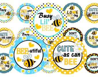 "1"" Honey Bee Bottle Cap Image Sheets  - Cute As Can Bee - Bumble Bee - Cupcake Topper Stickers Printables Instant Download."