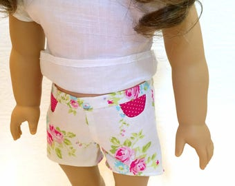 Floral high low shorts with pockets for 18 inch dolls